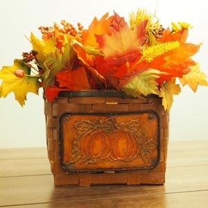 Woven Basket Fake Flowers Fall Berries Leaves
